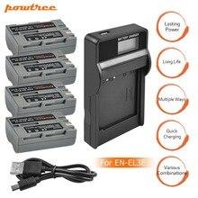 4pcs EN-EL3e EN EL3e ENEL3e 2600mAh Camera bateria Batteries AKKU+LCD USB Charger For Nikon D30 D50 D70 D90 D70S D300S D100 L15
