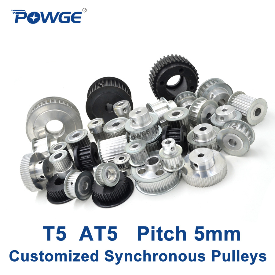 POWGE Trapezoid T5 AT5 Synchronous Pulley Pitch 5mm Gear wheel Manufacture Customizing all kinds of Metric T5 AT5 Timing pulleyPOWGE Trapezoid T5 AT5 Synchronous Pulley Pitch 5mm Gear wheel Manufacture Customizing all kinds of Metric T5 AT5 Timing pulley