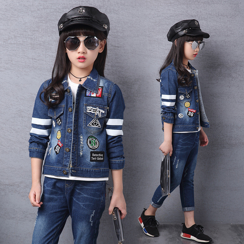 Spring Autumn Children Boys Girls Denim Clothing Set Baby Classic Cowboy Jeans Jacket + Pants 2Pcs Set Kids Girls Denim Suit T82 men s cowboy jeans fashion blue jeans pant men plus sizes regular slim fit denim jean pants male high quality brand jeans