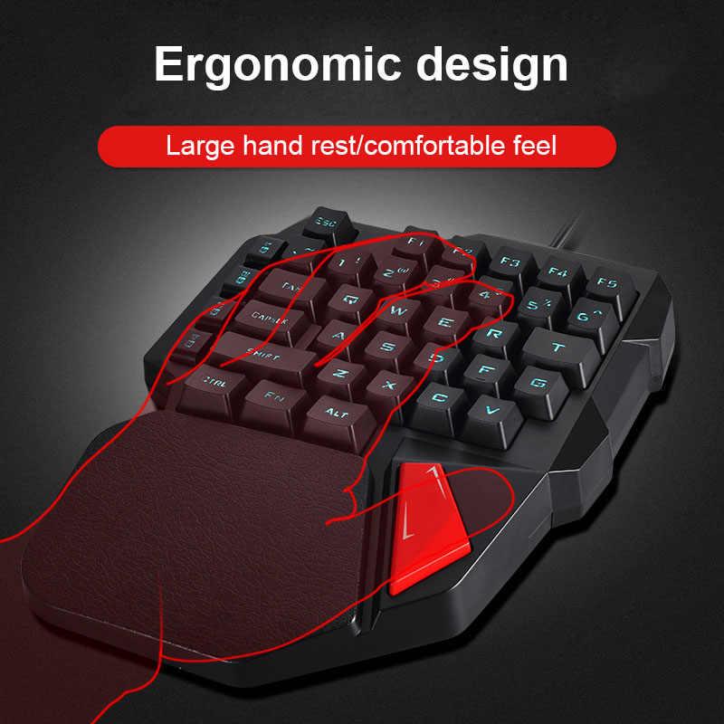 Satu Tangan Wired Gaming Keyboard 38 Tombol Mini Keypad untuk DotA OW Pubg UY8