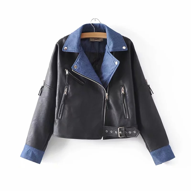 Klacwaya women patchwork PU   Leather   loose jackets for office ladies fashion bomber jacket cool girls moto-biker black coats chic