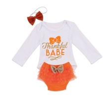 Baby Girl Thanksgiving Clothing Focusnorm Newborn Kids Princess Long Sleeve Top Bodysuit Shorts Headband Bow Headwear 3 Pieces(China)
