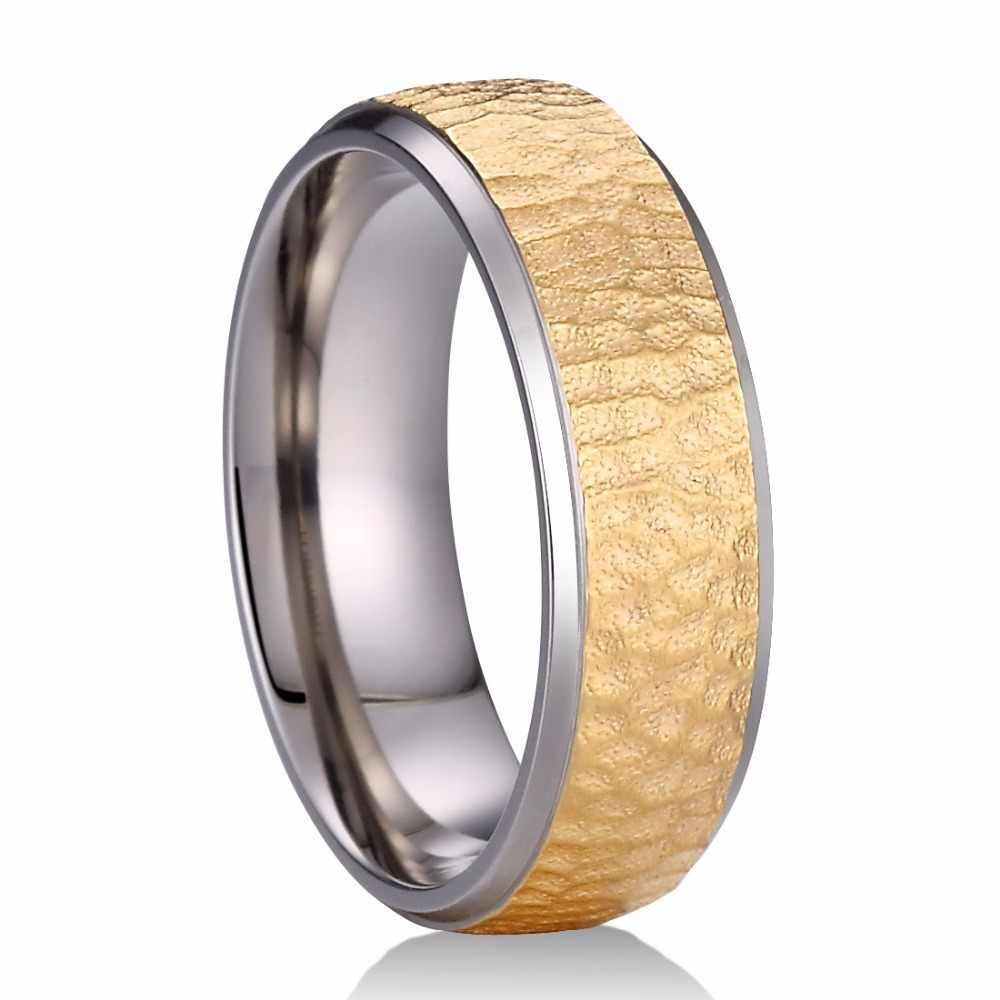 d1433d1aa27 Detail Feedback Questions about Rose Gold   Gold Color Available 7mm Pure  Titanium Ring with Multi faceted Hammer Finish Comfort Fit Male Female  Wedding ...