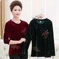 Новая мода высокого качества Осень зима женщины леди длинным рукавом Золотой бархат рубашка пуловер мать плюс размер clothing