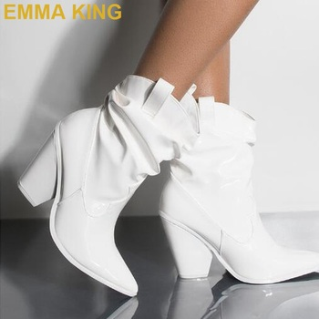 EMMA KING Brand New 2019 Winter Fashion Slip On White Leather Pointed Toe Hoof Heels Women Ankle Boots High Heels Drop Shipping