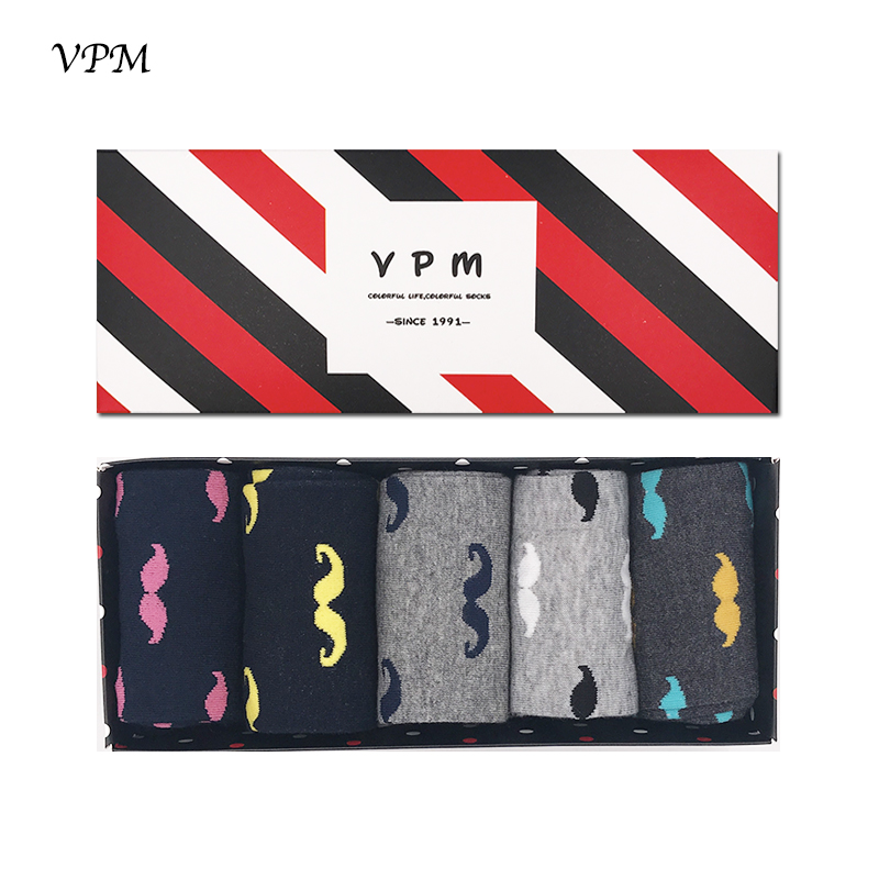 VPM Mens Cotton Socks Black Grey Business Wedding Party Colorful Moustache Happy sock for Men Gift Box 5 Pairs/Lot