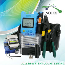 10 In 1 Fiber Optic FTTH Tool Kit with FC-6S Fiber Cleaver and Optical Power Meter 5km Visual Fault Locator Wire stripper