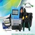 10 em 1 Kit de fibra óptica FTTH ferramenta com FC-6S Fiber Cleaver e Optical Power Meter 5 km localizador Visual de falhas descascador de fios