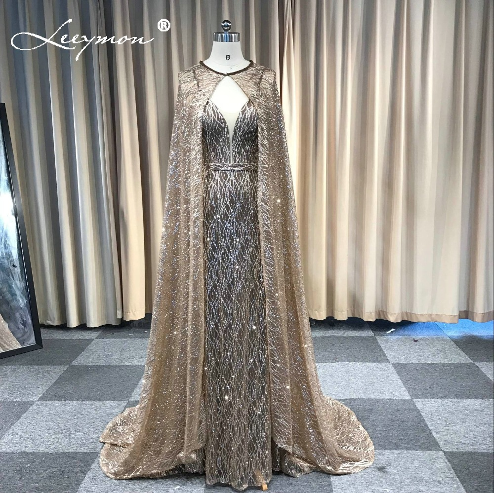 vestidos Mermaid Glitter Sparkling Evening Dress V Neck Sleeveless Evening Party Long Formal Dress with Cape