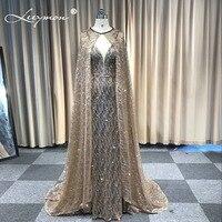 Vestidos Русалка Блеск Игристые вечернее платье без рукавов с v образным вырезом Вечеринка длинные торжественное платье с накидкой халат De Soiree