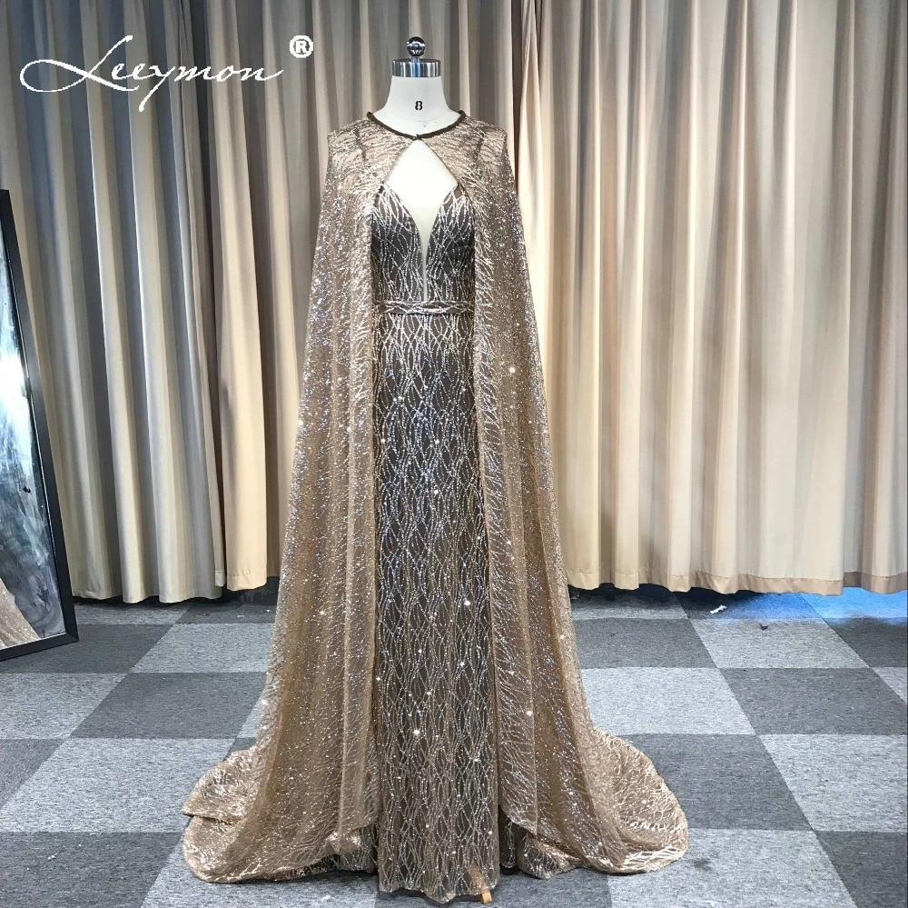 Vestidos Mermaid Glitter Sparkling Evening Dress V Neck Sleeveless Evening Party Long Formal Dress With Cape Robe De Soiree