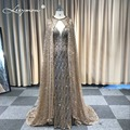 vestidos Mermaid Glitter Sparkling Evening Dress V Neck Sleeveless Evening Party Long Formal Dress with Cape Robe De Soiree