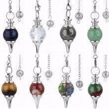 SUNYIK 1Lot (8Pc) Crystal Stone Ball Point Reiki Healing Dowsing Crystal Pendulum with Chain цены онлайн