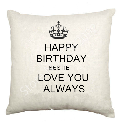 Best Friend Birthday Cushion Cover Velvet Happy Bestie Letter Throw Pillow Case Gifts Love Home Decor 18