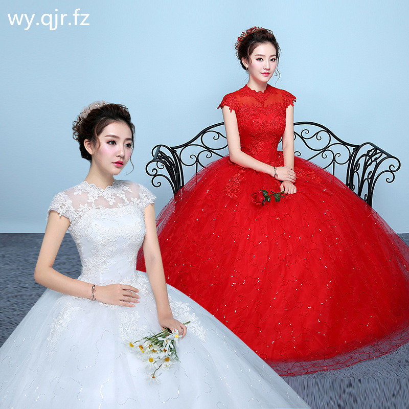 XXN-059#Ball Gown O-Neck Plus Size Lace Up White Red Wedding Dress Embroidered Lace On Net Wholesale Long Dresses Women Custom