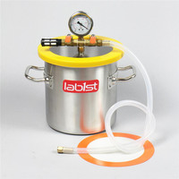 1.6 Gallon 200mm 7.8 Stainless Steel Vacuum Degassing Chamber, Polycarbonate Lid