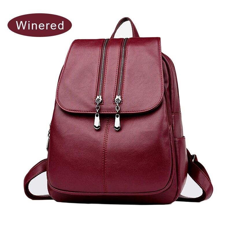 Laptop Backpack Women Leather Luxury Backpack Women Fashion Satchel School Bag PU LXX9