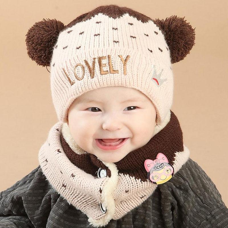 2016 Korean LOVE Crown Plus Velvet Kids Boys Knitted Hats Winter 2 Pcs Baby Girl Scarf Hat Set Age For 6 Months-3 Years MZ4162
