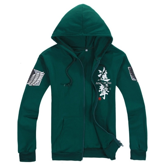Best Sellers Anime Attack on Titan Cosplay Costumes Hoodie Green Black Scouting Legion Hooded Sweater for Unisex