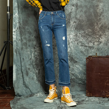 Brief Relate Blue Jeans Holes Tassels Design Casual Straight Cut Pants Pockets Regular Fashion Ninth Length