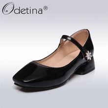 Odetina 2018 New Fashion Mary Janes Pumps Square Chunky Heels Shoes Patent Leather Pumps Buckle Starp Crystal Shoes Big Size 43