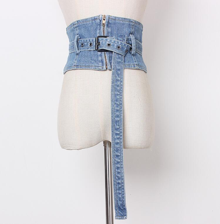 Women's Runway Fashion Vintage Zipper Denim Cummerbunds Female Dress Corsets Waistband Belts Decoration Wide Belt R1422