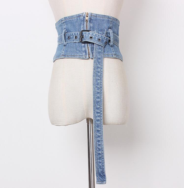 Women's Runway Fashion Vintage Zipper Denim Cummerbunds Female Dress Corsets Waistband Belts Decoration Wide Belt R1422