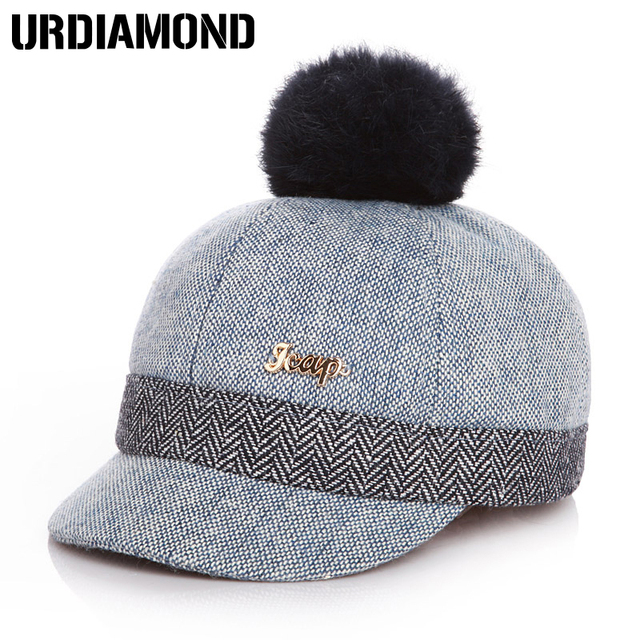 URDIAMOND Warm Children Kid Winter Baseball Hat With Pompon Sports Hats  Golf Hats Kids Winter Hats db4ebafe40d7