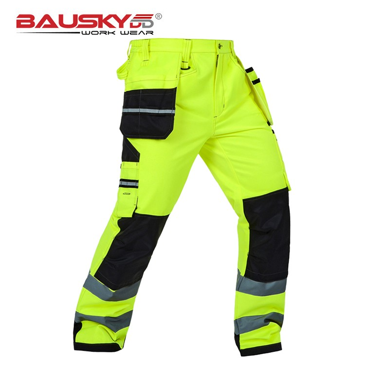 Bauskydd Mens Male Durable workwear multi pocket reflective trousers with knee pads for work safety working