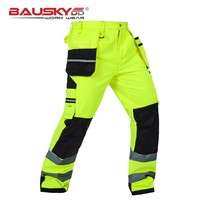 Bauskydd мужские мужской прочный спецодежды Multi-карман Светоотражающие Брюки с наколенники для работы безопасности рабочих Штаны Бесплатная д...