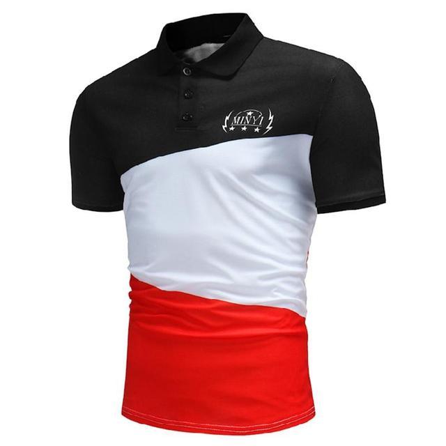 e4598a61b89 2018 Splice Men Polo Print Shirt Casual Striped Slim Cotton short sleeves  Summer Fashion Brand classic casual Pocket tops Polos