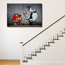 Banksy Super Mario Wallpaper Canvas Painting Print Bedroom Home Decor Modern Wall Art Oil Poster Picture Framework HD