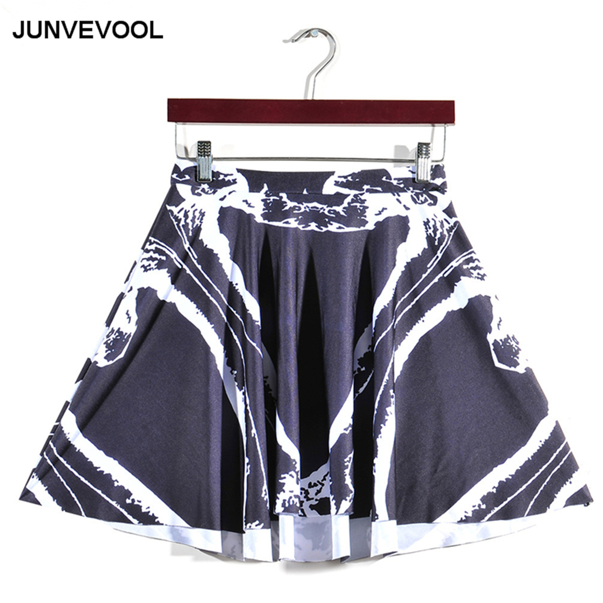 Skirt Women 3D Printed New Styles Summer Black White Patchwork Beach Mini Skirts Hot Sale Types Vogue Party Club Styles Clothing