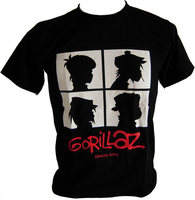 고릴라 즈 (gorillaz 록 밴드 랩 힙합 남성 화이트 블랙 그래픽 T 셔츠 고릴라 즈 (Gorillaz 남성 캐주얼 여름 스타일 플러스 사이즈 셔츠