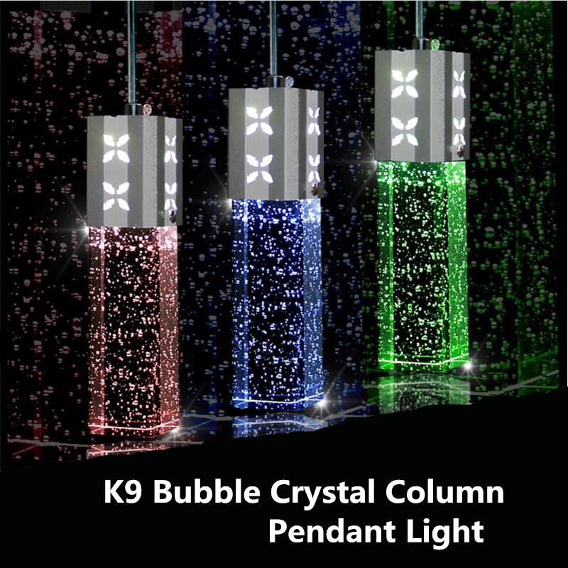 Modern Fashion Romantic K9 Bubble Crystal Column Led Pendant Light for Dining Room Restaurant Lights 5w*1/3 heads 1383 modern fashion luxurious rectangle k9 crystal led e14 e12 6 heads pendant light for living room dining room bar deco 2239