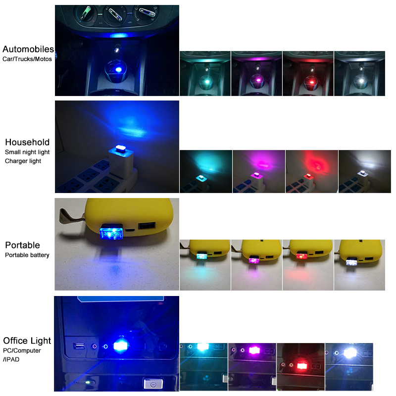 CNSUNNYLIGHT Car USB LED Atmosphere Lights Decorative Lamp Emergency Lighting Universal PC Portable Plug and Play Red Blue White (1)