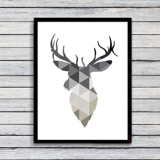 Geometric Deer Head Canvas Printable Poster Modern Wall Art Pictures For Home Office Decor
