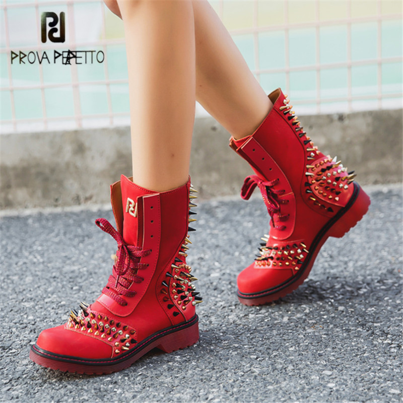 Prova Perfetto Punk Style Spikes Genuine Leather Women High Boots Fashion Platform Lace Up Ankle Boots for Women Rubber Boot prova perfetto horsehair ankle boots for women lace up platform flats comfortable creepers female flat rubber boot espadrilles