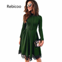 Autumn Dress Women Party Dresses O Neck Long Sleeve A-Line Slim Vestido De Festa Lace Spliced Sexy Dress Robe Femme stylish round neck long sleeve voile spliced a line women s dress