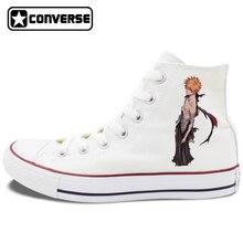 Anime BLEACH Kurosaki Ichigo Converse Chuck Taylor Shoes Flat Walking Shoes Design Unisex High Top White Black Canvas Sneakers