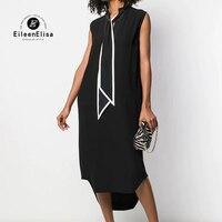 Однотонное платье Женский Повседневный свободный длинное платье женские с галстуком бабочкой без рукавов шелковые платья летние