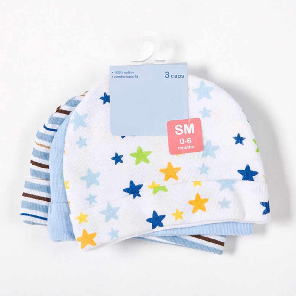 3 piunids/lote gorros de bebé con estampado de estrellas rosadas/azules sombreros y gorras para recién nacidos # W30