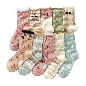 Image 2 - 10 Cặp/lô 4 12 Cô Gái Vớ Hoạt Hình Họa Tiết Hoa Trẻ Em Tất Cho Trẻ Em Cotton Chất Lượng Cao