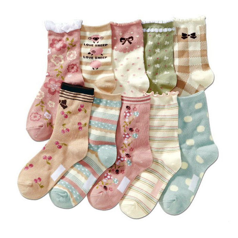 Image 2 - 10 pairs/lot  4 12 years girls socks cartoon floral children kids socks cotton high quality-in Socks from Mother & Kids