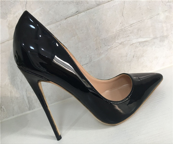 suzuki women brand high heel shoes wedding pumps pointed toes patant leather fashion shoes 8cm