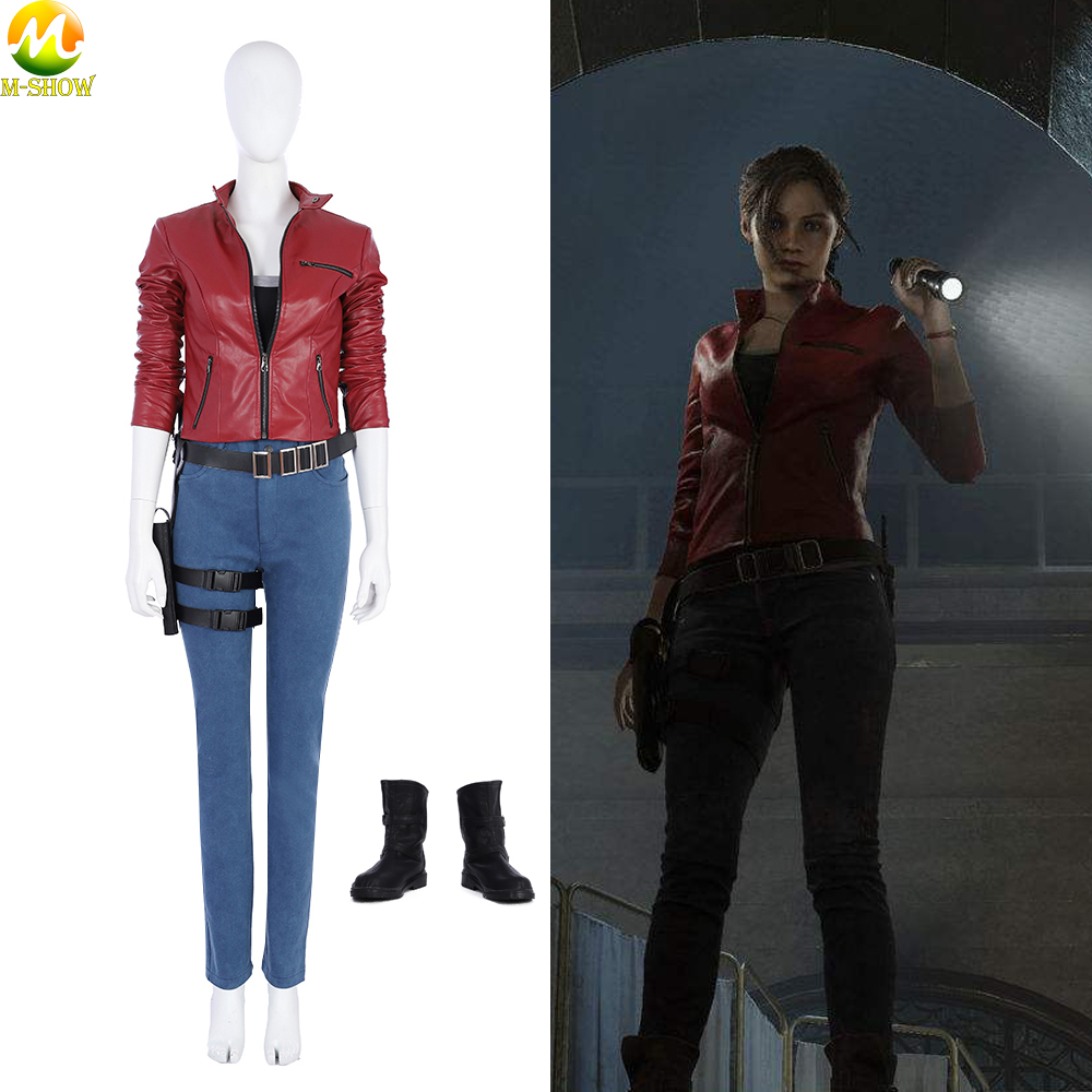 Custom Resident Evil 2 Cosplay Costume Women Claire Game Full Set Suit For Halloween Party