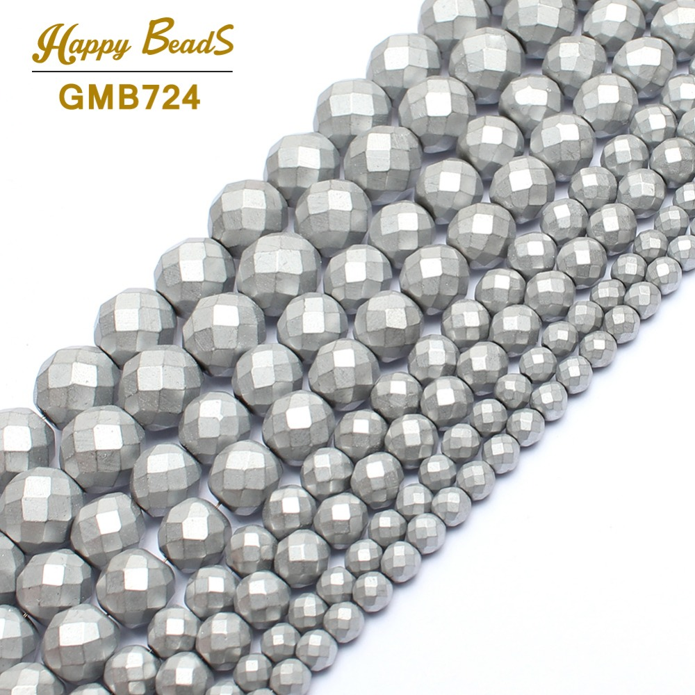 Beads & Jewelry Making Jewelry & Accessories Dedicated Natrual Stone Beads Matte Silver Color Faceted Hematite Round Beads For Jewelry Making Bracelet 3/4/6/8/10mm Beads Diy Jewelry