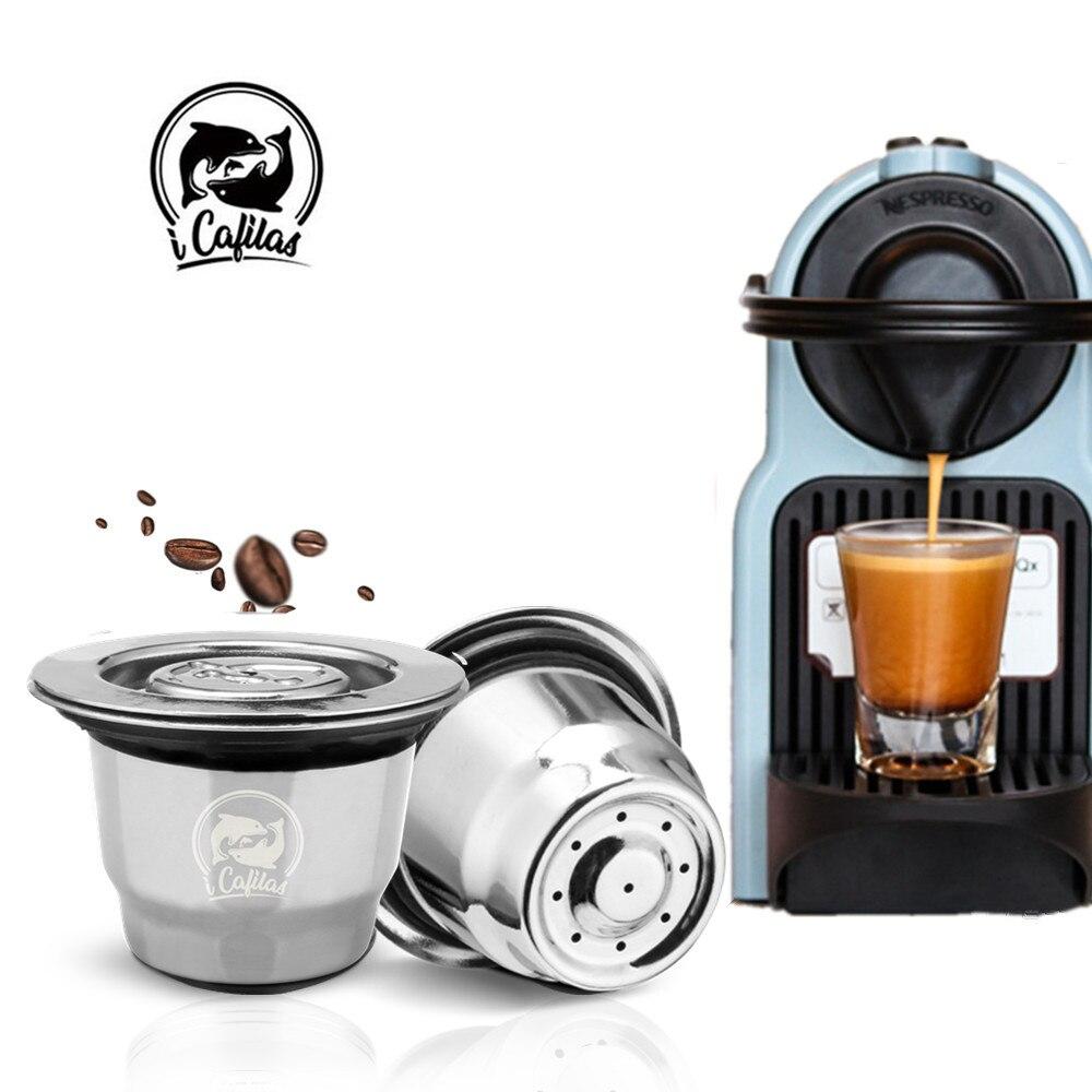 Nuovo In Acciaio Inox Metallo 2 in 1 Uso di Caffè Riutilizzabile Nespresso Capsule Refilable Caffè Tazza di Baccelli Fit Essenza mini
