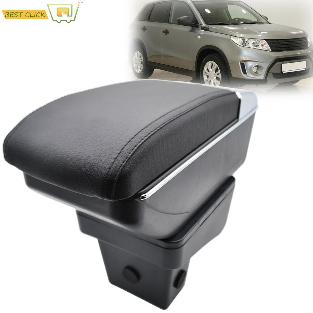 Caixa de armazenamento para suzuki vitara 2015 - 2019 braço resto cinzeiro dupla camada braço couro preto duplo estilo do carro 2018