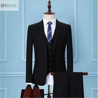 Black Fashion Regular Bridegroom Tuxedos Single Breasted Groom Wear Suit Vest +Pants For Wedding /Evening Party